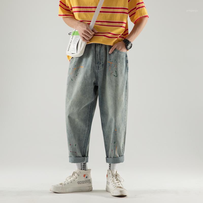 Autunno maschile Trend Ink Tempo libero BAGGY HOMME Classic Cargo Pocket Jeans Mens Blu Pantaloni Casual Pantaloni maschili Biker Denim Denim Pantaloni1
