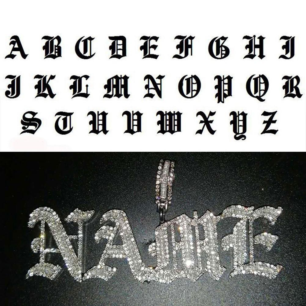 Hip Hop Custom Name alte englisch Gothic Schriftbrief Anhänger Halskette Euro Euro cz Männer Frauen Gold Silber Farbe Schmuck Halsketten 201014