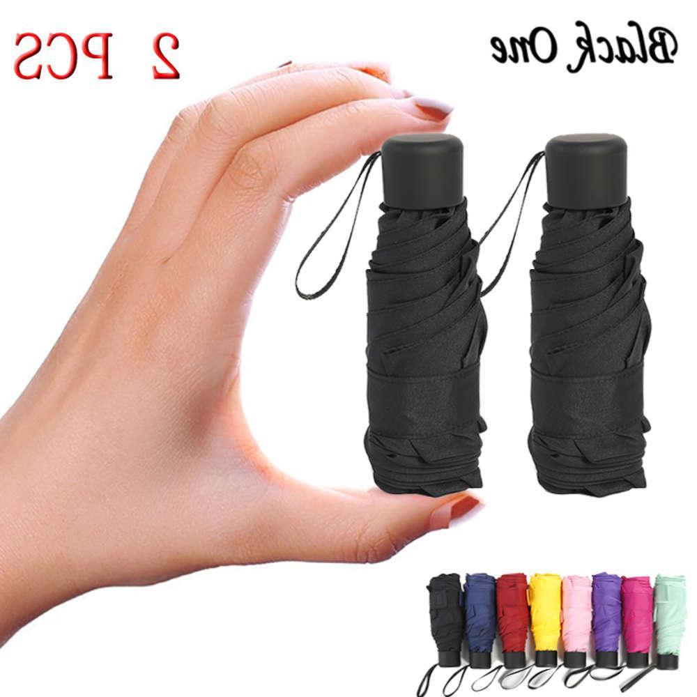 2 adet 180g Küçük Moda Katlanır Şemsiye Yağmur Kadın Erkek Mini Cep Şemsiye Kızlar Anti-UV Su Geçirmez Taşınabilir Seyahat Şemsiyeleri