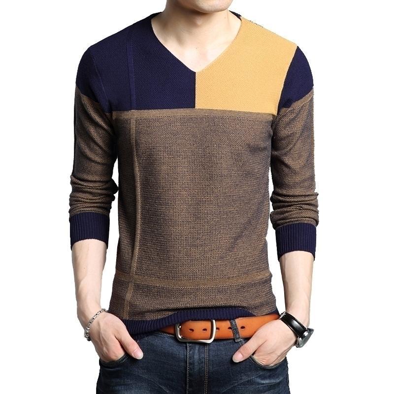 Browon Men Otoño Suéter de manga larga Suéter Masculineo Color Match Casual Splicing Design Slim Suéteres Outwear Venta caliente 201126