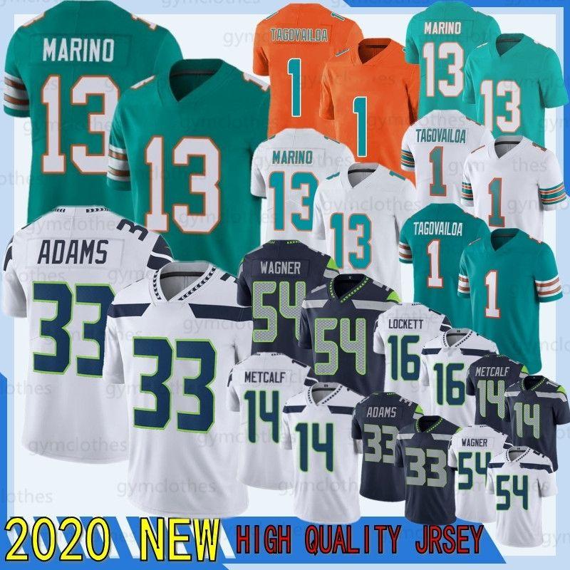 Tua Tagovailoa 2020 Dan Marino 33 Jamal Adams Novo DK Metcalf Football Bobby Wagner 16 Tyler Lockett Jersey