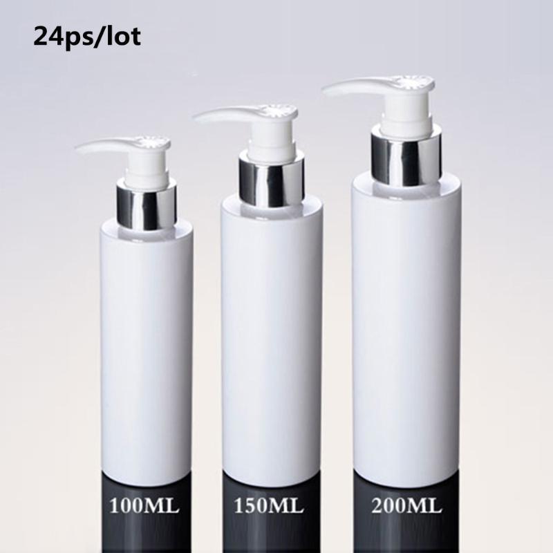 24 pièces Loition Bouteille avec pompe 100ml 150ml 200ml Lotion Argent Blanc Pompe de bouteilles en plastique, bouteilles PET Lotion avec distributeur