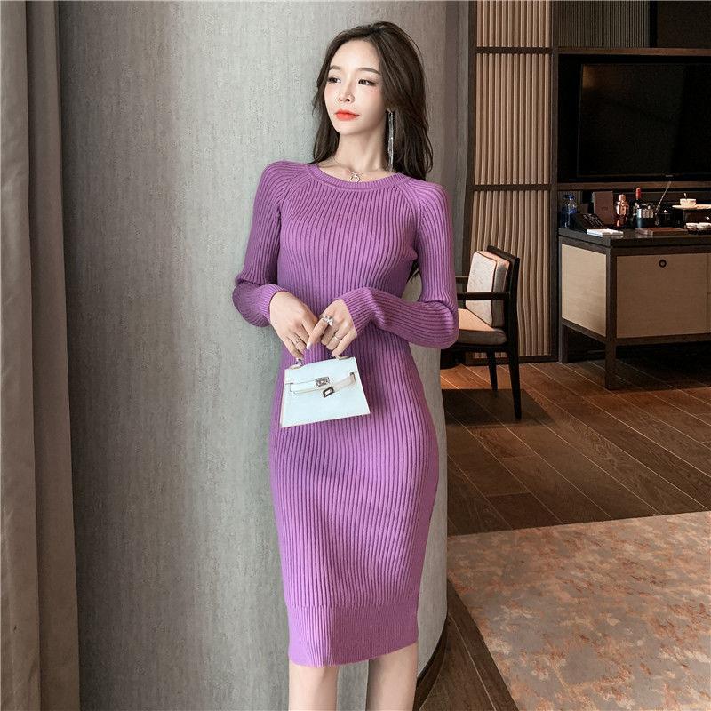 Femmes Automne Hiver 2021 nouvelle mode en tricot mi-longues Robes Femme Couleur unie Robe pull dames O-Neck Slim Vestidos D407