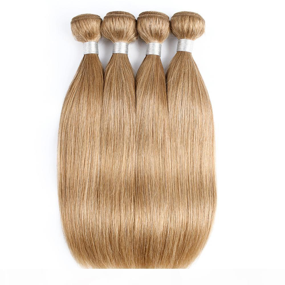 # 27 Mel loira Weave Cabelo Humano Pacotes brasileira Virgin Cabelo Liso 3 4 Pacotes 16-24 Inch Remy Extensões de cabelo humano