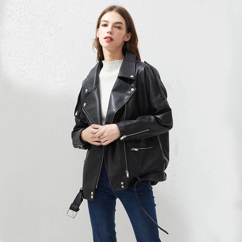 Fiaylor Pu Faux Cuir Veste Femmes Loose Sashes Casual Biker Vestes Outwear Tops Femelle Tops BF Style Cuir Noir Jacket Manteau 210201