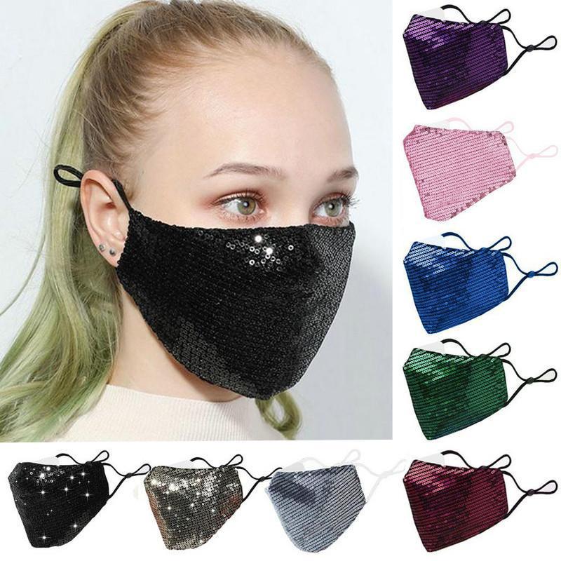 Maschere per la moda Bling Bling Bling Bling Paillettes Paillette Designer Maschera lavabile riutilizzabile Maschere adulti Mascarillas Maschera regolabile protettiva