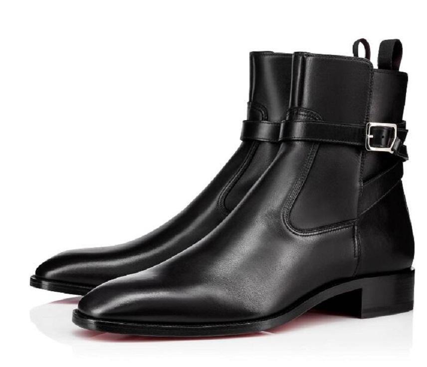 Herbst / Winter Gentlemany Luxus Männer Knöchelstiefel Kicko Rot Unterdruck Ponyhaar Kubanische Stiefel Silhouette Wildleder Matte Leder Herrenstiefel