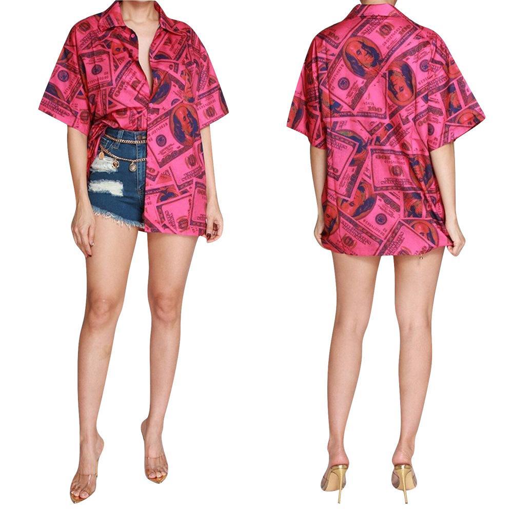 Patrón de billetes de banco flojo para mujer blusas de cuello de solapa verano ocasional de manga corta de las mujeres todas correspondan diseño camisas