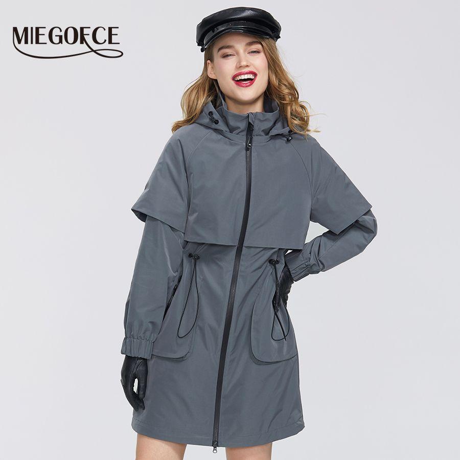 MIEGOFCE Yeni Bahar Kadın Coat Ceket Windproof WINDBREAKER Moda Orta uzunlukta Gevşek Klasik Model Gömme Fermuar 201016 Cepler