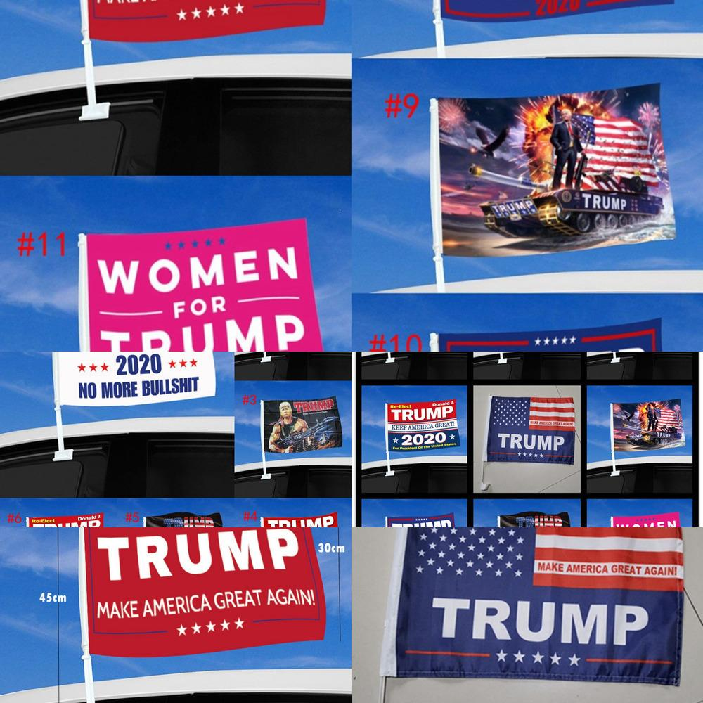 GreatbhvhFashion Trump Car Bandiera 45 * 30cm 2020 US Presidenziale elezione presidenziale Trump Bandiera della finestra dell'automobile inclusa flagpole DDA4