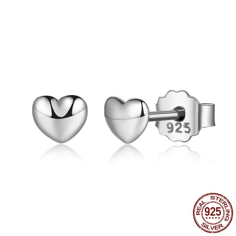 Wostu Heart Stud Pendientes 925 Sterling Silver Rose Oro Red Heart Zircon Esmalte Pendientes Pendientes Para Mujeres Joyería Original