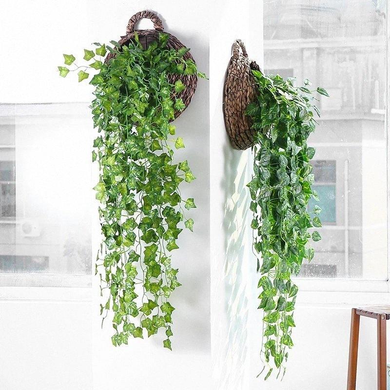 تعليق على الحائط النباتات الاصطناعية فاينز محاكاة ورق عنب أخضر الفجل الزاحف أوراق الشمال ديكور المنزل اكسسوارات nr4K #