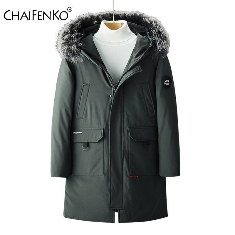 Chaifenko Marka Kış Sıcak Aşağı Ceket Erkekler Rahat Iş Uzun Kalın Kapşonlu Parkas Erkekler Katı Moda Rüzgarlık Ceket Erkekler 3XL 201104