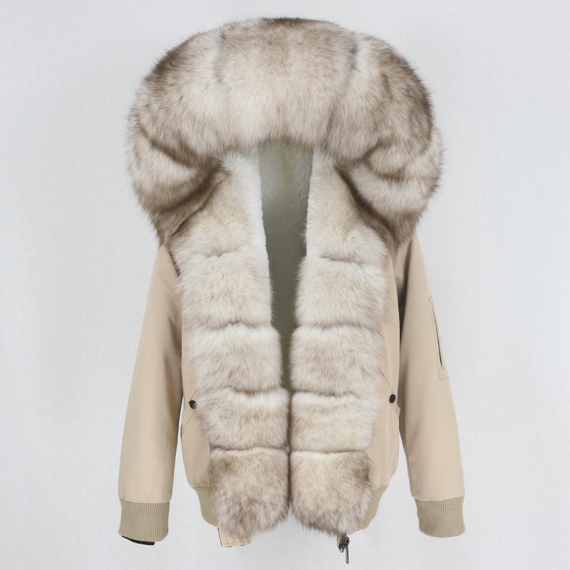 OFTBUY Yeni 2020 Su geçirmez Bombacı Parka Kış Ceket Kadınlar Gerçek Kürk Doğal Fox Kürk Yaka Hood Sıcak Streetwear Ayrılabilir
