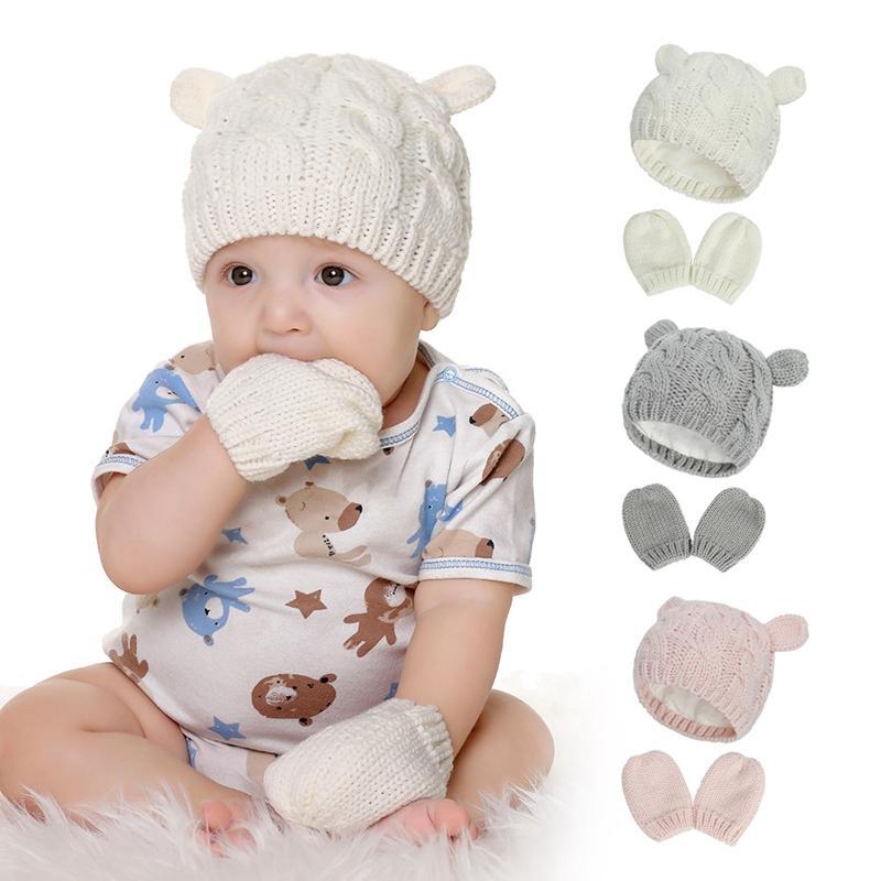 الشتاء الطفل قبعة القفازات مجموعة محبوك الدافئة بيني القطيفة مع لطيف الأذن الرضع قفازات طفل الشتاء HHA1638