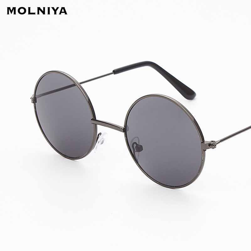 New Fshion Round PhotochRomism Солнцезащитные очки Мужчины Женщины Ретро Классический Круг Металлический Рамка Солнцезащитные Очки Очки UV400
