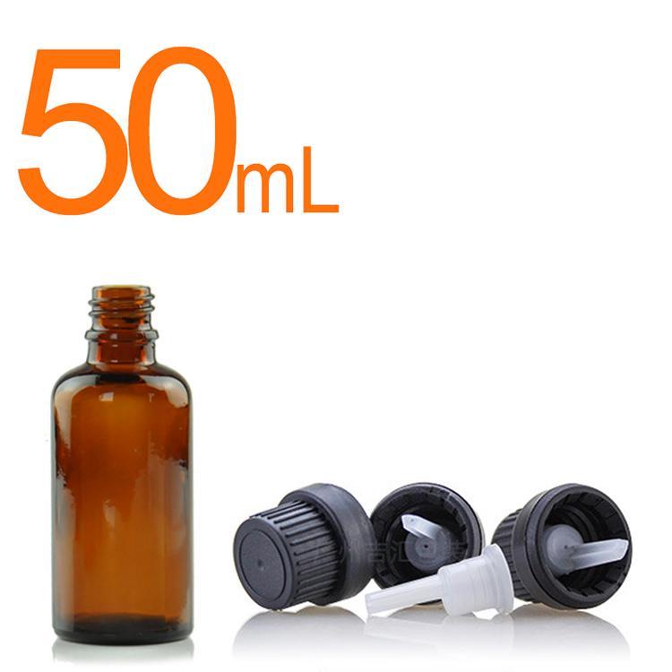 Bouteilles d'huile essentielle en verre de verre de 50 ml à 1,7 oz avec réducteur d'orifice et capuchon noir pour huiles essentielles cosmétiques chimiques Cologne parfum