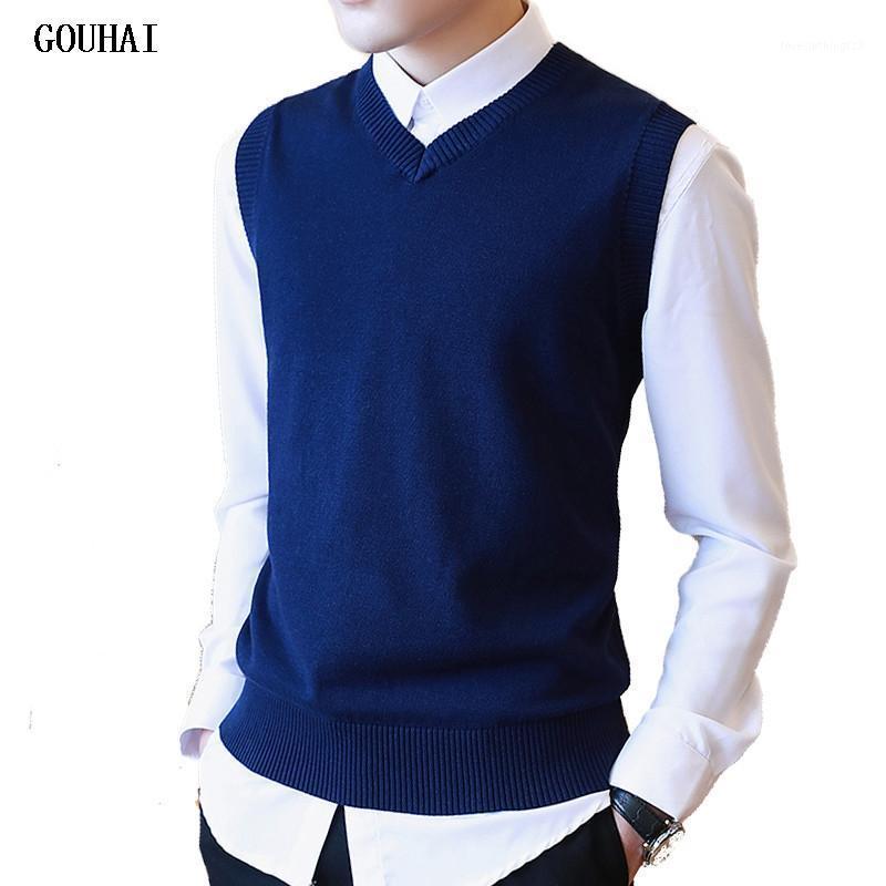 Suéter hombres 100% algodón sólido v cuello casual suéter masculino chaleco hombres jersey tejido sin mangas de manga M-3XL1