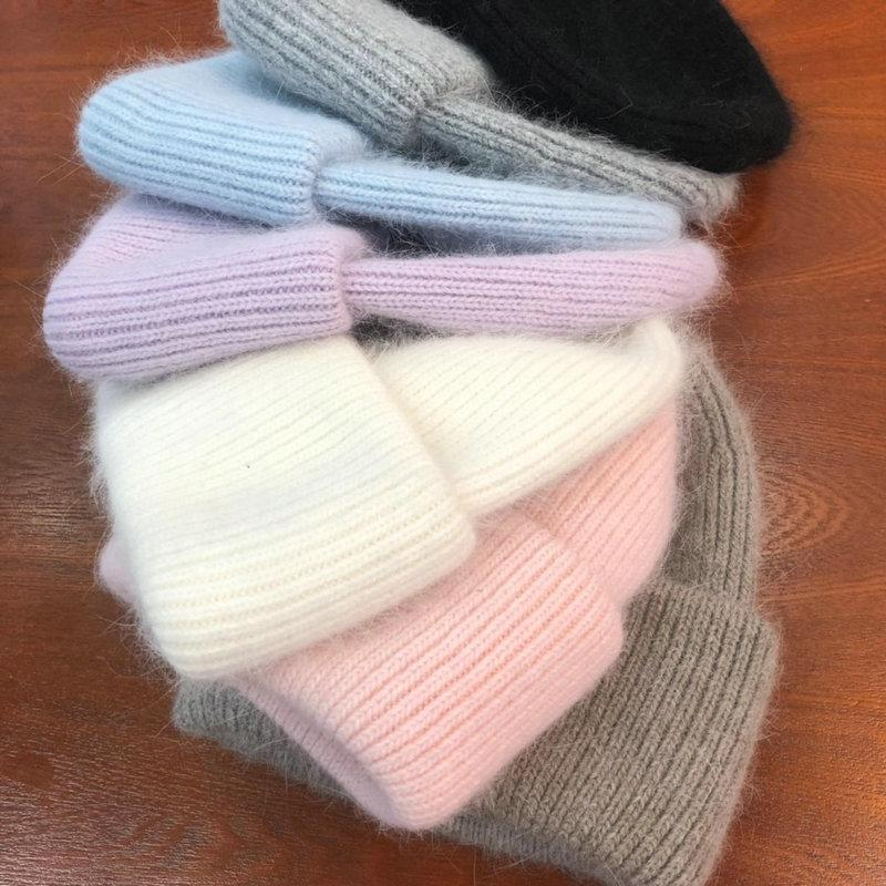 2021 New Knitted cap Warm pure color light board autumn and winter versatile candy color vertical stripe knit hat female