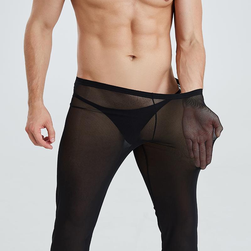 섹시한 남성 통기성 메쉬 쉬어 느슨한 잠옷 라운지 시스루 바지 소프트 편안한 바지 수면 바지
