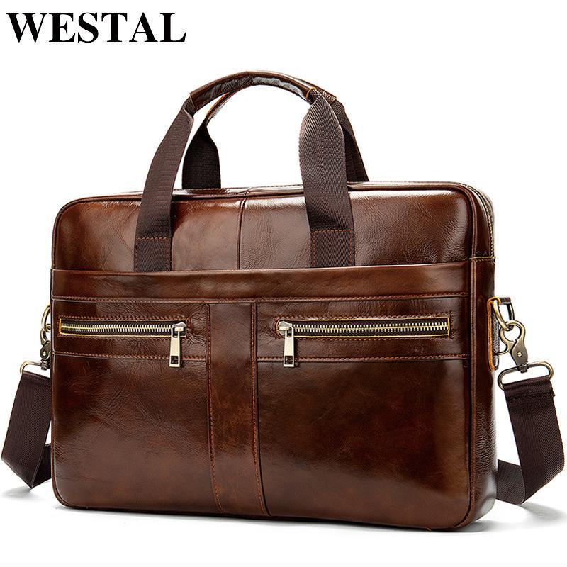 Bolsa de couro genuíno dos homens do Westal homens homens para homens de couro natural sacos de couro sacos mensageiro 2019 malas masculinas mgbak