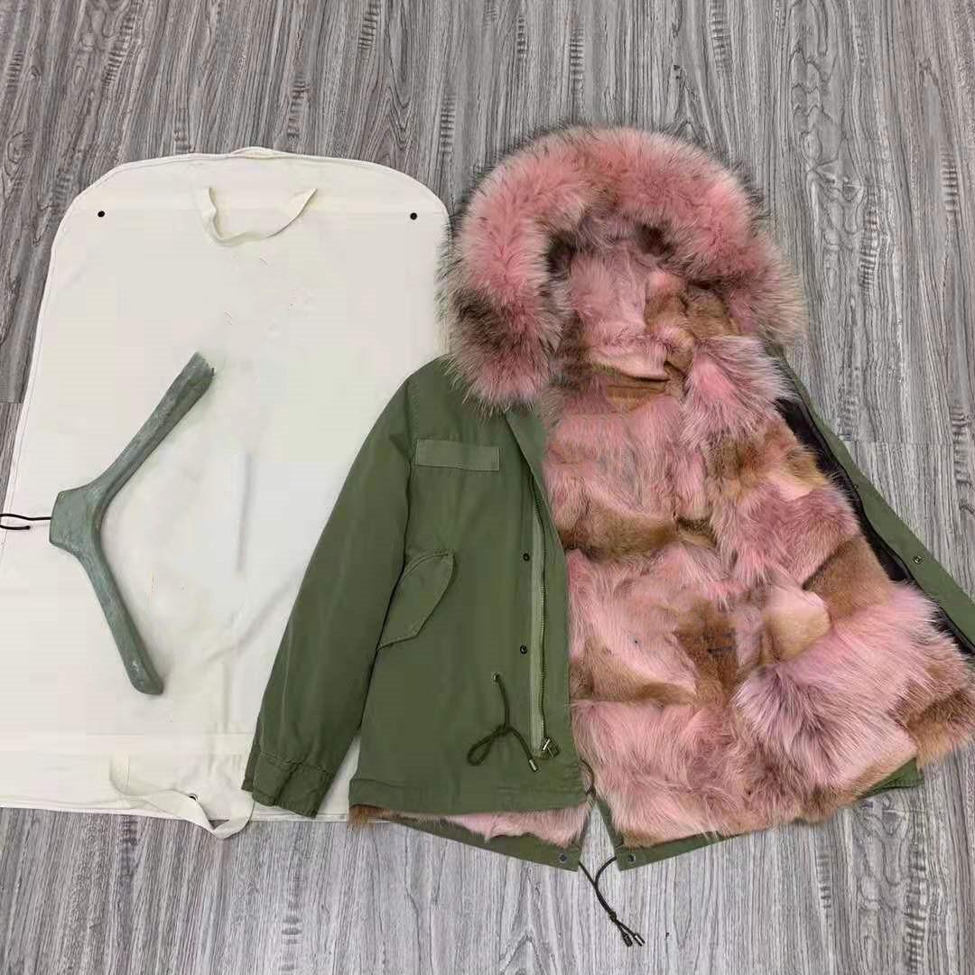 rosa pele de guaxinim guarnição peles mukla marca rosa coyote pele forro do exército mini-verdes casacos de inverno neve parka com zíper YKK