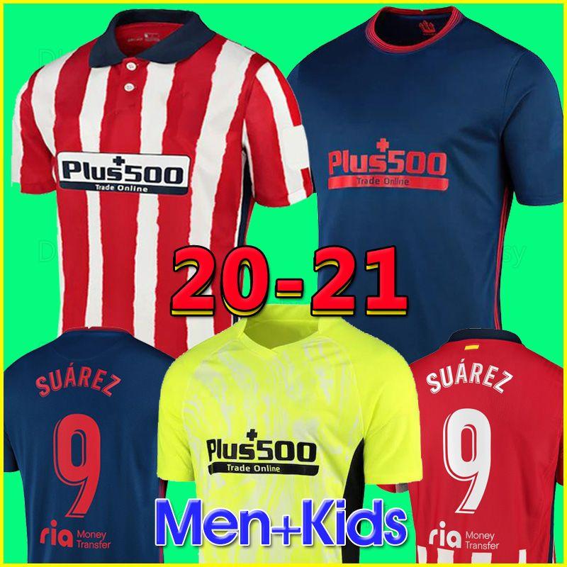 20 21 Atlético Madrid Camisas de futebol JOAO FELIX 2020 2021 SAUL Camisetas de futebol SUAREZ Mens Jersey Crianças Kit DIEGO COSTA Camisa manga comprida