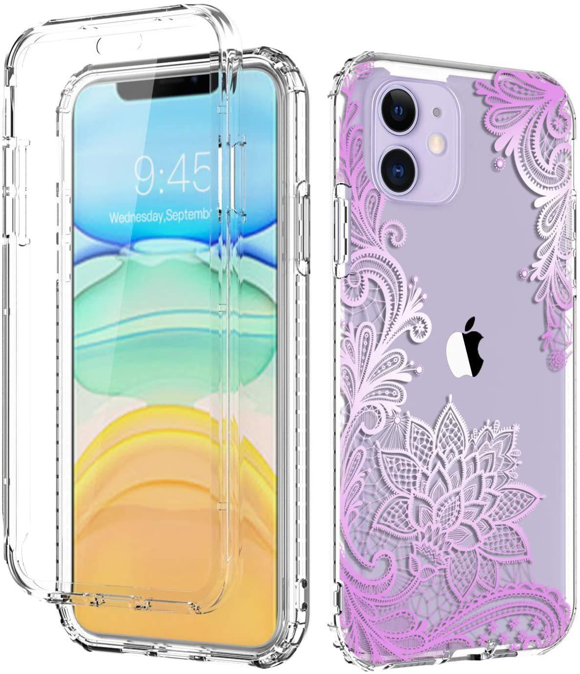 For Apple iPhone Xr Xs Max 11 360 Full Body Dual Layer Slim Crystal Transparent Case with Built-in Screen Protector