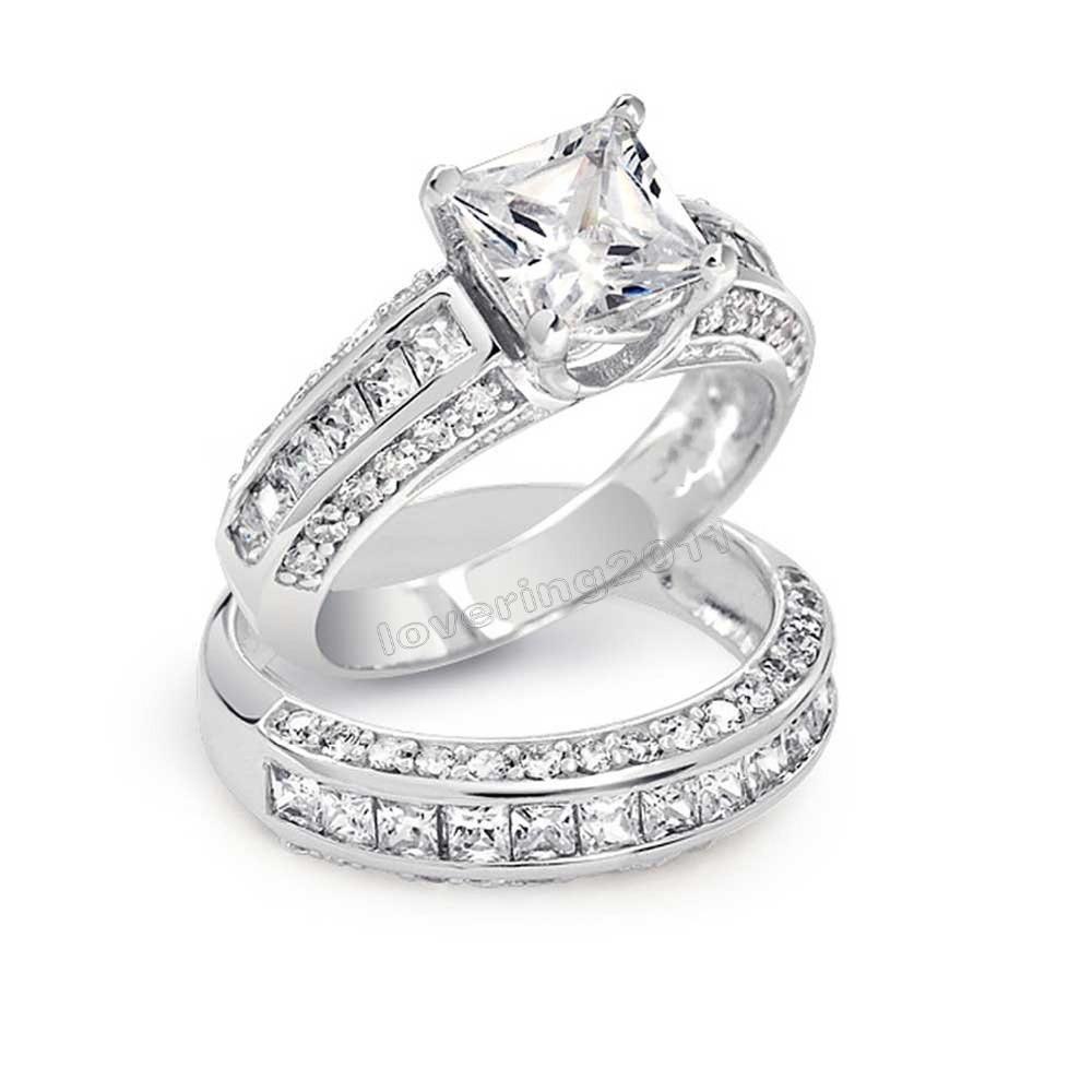 Choucong Princess Cut Stein 5A Zirkon Stein 10KT Weißgold Gefüllte Hochzeitsband Ring Set Sz 5-11 Freies Verschiffen Y0122