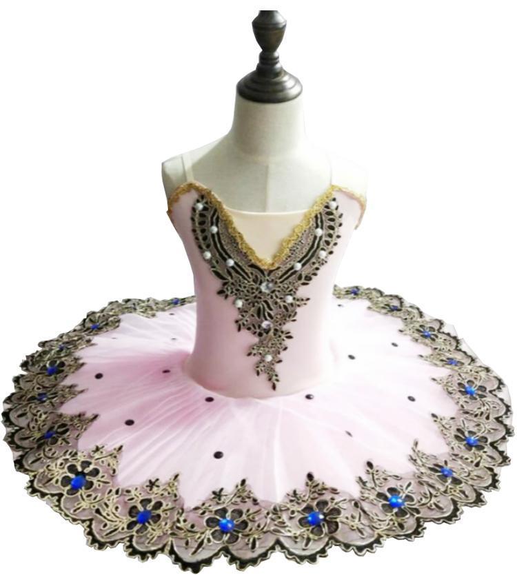 2021 NUEVO Songyuexia Chica Falda profesional Falda Ballet Falda Swan Lake Pattern Mujer Danza Vestido de salón de niña
