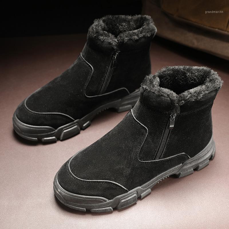 Moda quente Homens botas Outdoor Moda rebanho com sapatos de pele homens sapatos casuais tornozelo botas confortáveis zapatos de hombre1