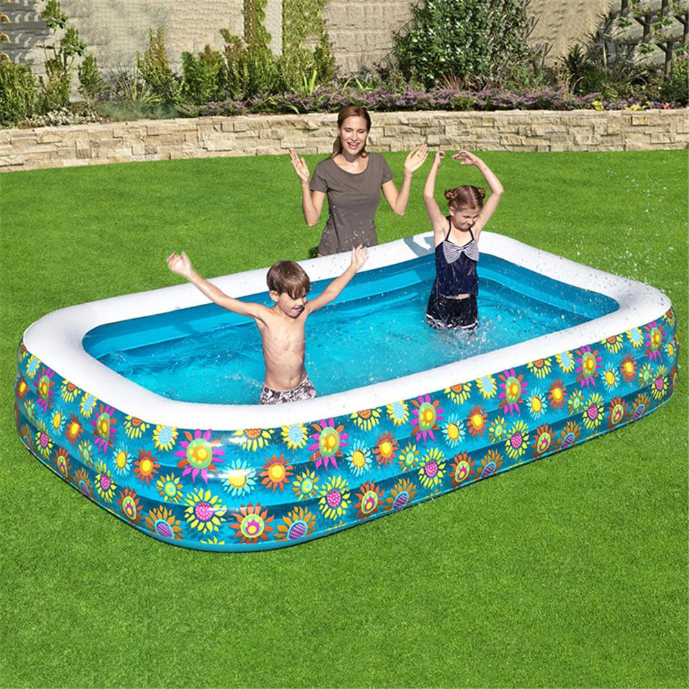 305*183*56CM Family Inflatable 3 Layers Large PVC Swimming Pool Household Baby Wear-resistant Thick l Portable Outdoor Children's Bathing Swim Center