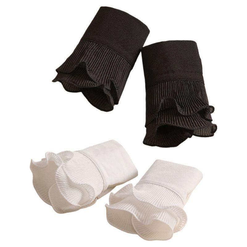Shirt plissé détachable Flare manches Manchettes Faux massif Couleur plissée en couches Wristband décorative Vêtements pour femmes Accessoires M2EB