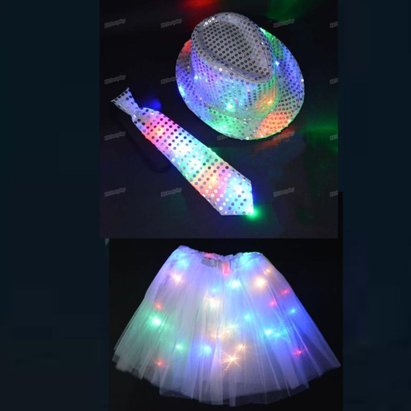 Concierto mujer de la boda de los hombres de luz LED arriba que destella lentejuelas jazz del casquillo del sombrero de la pajarita del partido del delirio de Glow Bar desfile de Navidad de Halloween