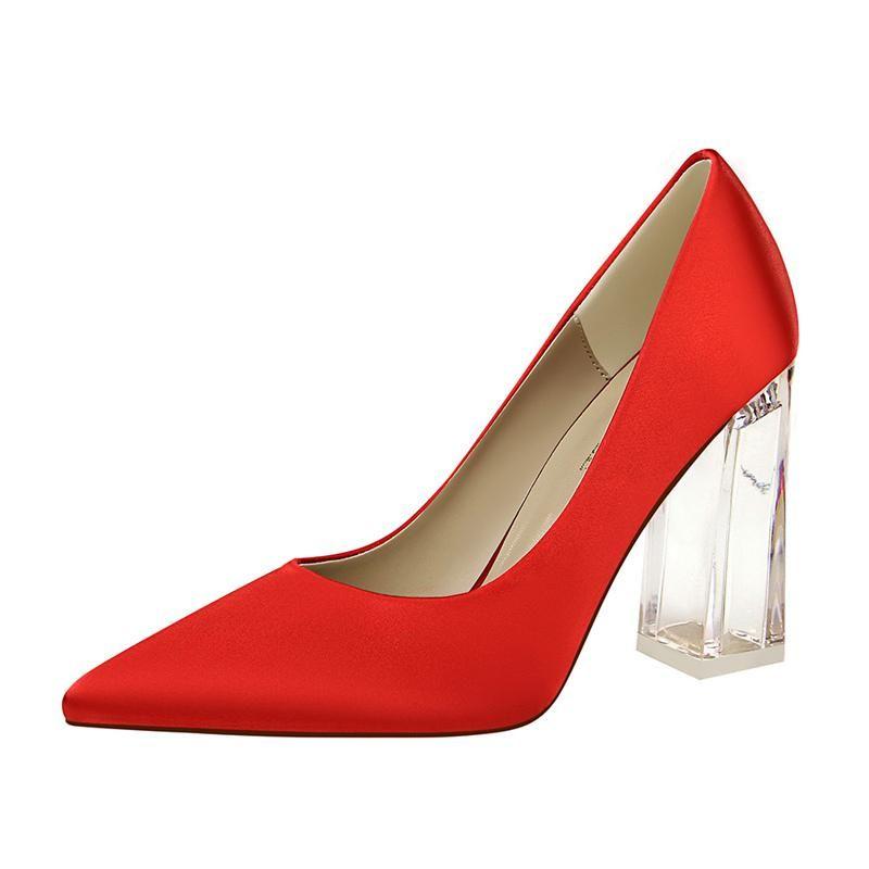 Zapatos de vestir sexy punta puntiaguda mujeres bombas 2021 moda seda tacones altos mujer satinado súper cuadrado tacón grande tamaño 43