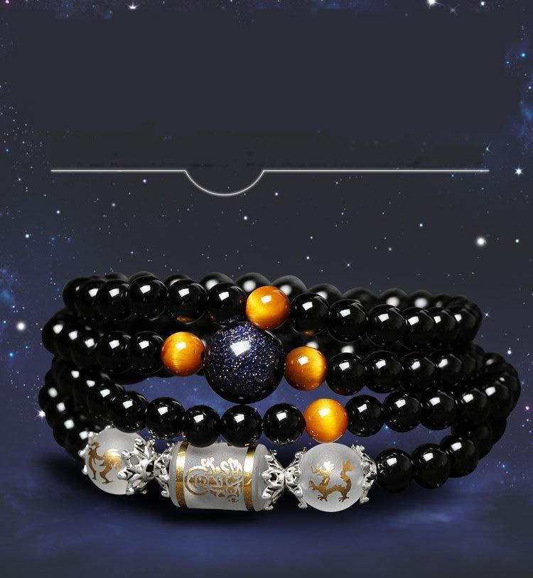 Céu azul estrela areia ObsidianBracelet Obsidian estrela natural 12 zodíaco vários círculo bracelete de cristal Obsidian para homens e mulheres m4jJa