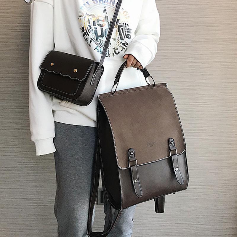 Fashion Backpack Women 2pcs Set Backpacks PU Leather School Bag for Girls Casual Style A4 Paper Vintage Backpacks Shoulder Bags Q1105