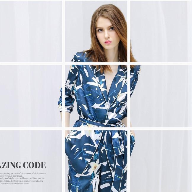 Новая весенняя женщина шелковый пижамный костюм длинные рукава высшее качество