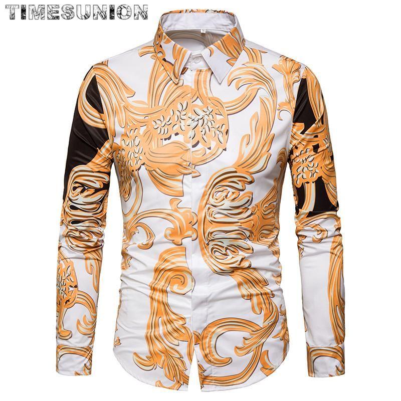 Camisa de los hombres de la moda británica Casual Slim Fit Manga larga de manga larga camisas Club de noche Trabajo Camisa de la vendimia Camisa Social Masculina