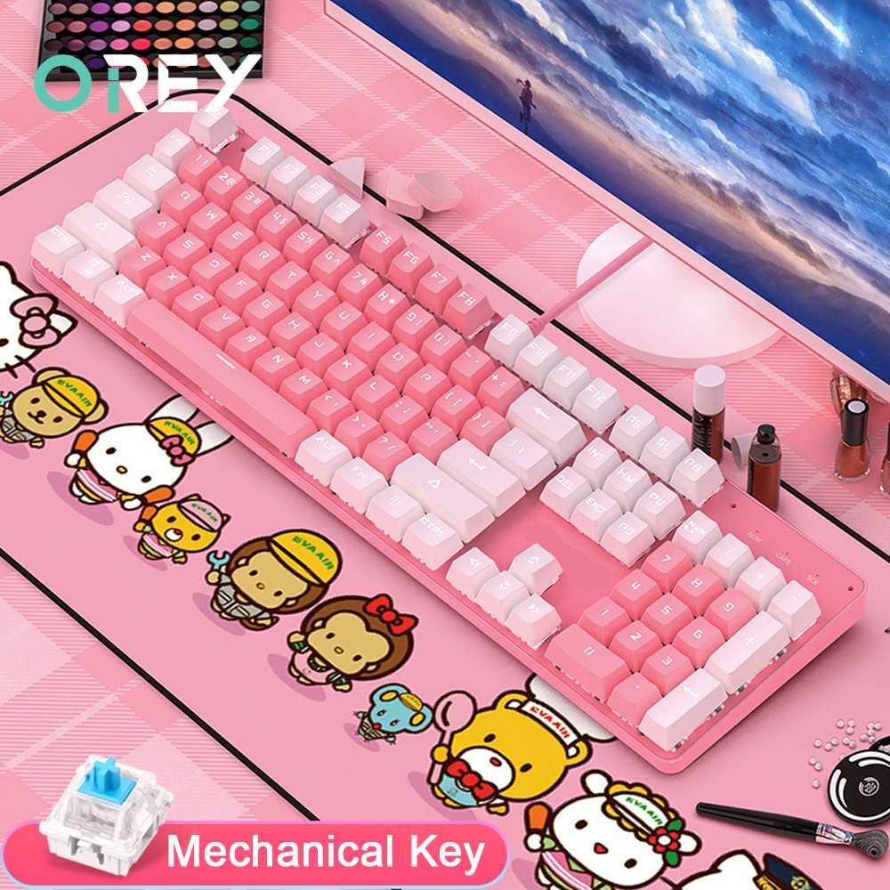 Tastiere 104 tasti tastiera meccanica Gaming cablato USB per computer portatile PC Gamer rosa ragazza Retroilluminazione regalo