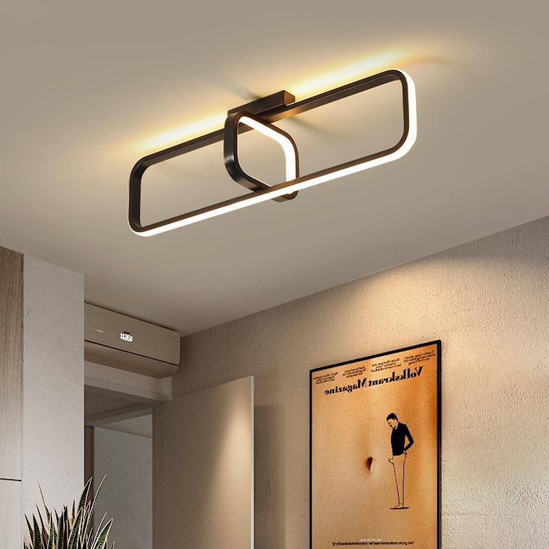 Nordic Nowoczesny Mały Światło Sufitowe Do Home Cloakroom Wejście Drzwi Korytarz Korytarz Sypialnia Lampa Sufitowa LED Balkon Lampa BlackRectangle Cei