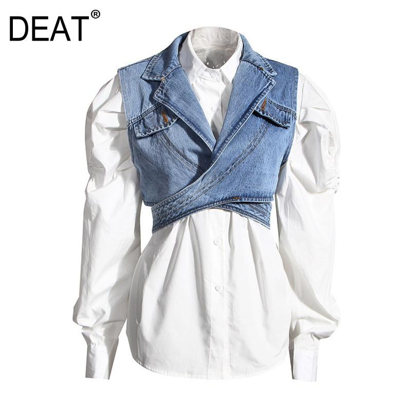 Meat Women Blue Denim Individual Breasted New Lapel Long Puff Sweeve Camisa Moda Marea Otoño Dos piezas Top 1Z595 201126