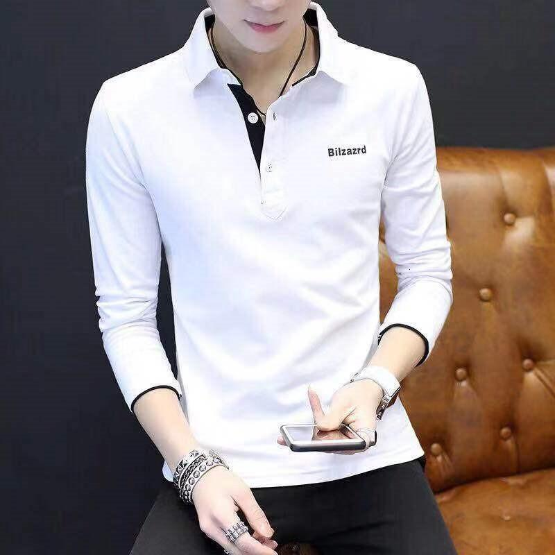 NOUVEAU Mode Marque Designer Polo Chemise Hommes Coréen Slim Coupe longue Streetwear Streetwear Poloshirt Casual Hommes Vêtements