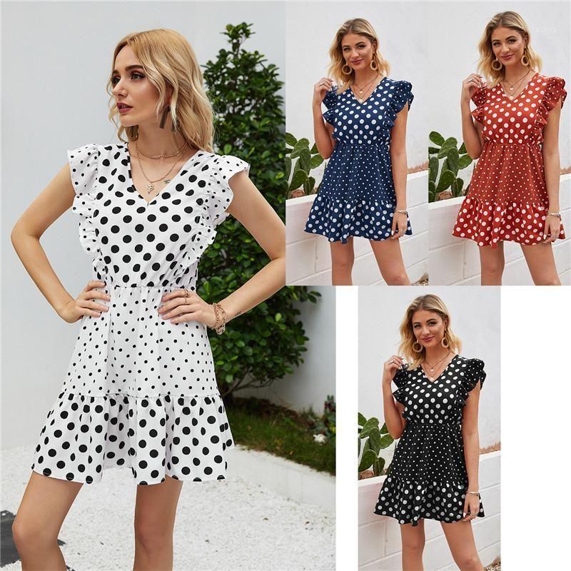 Yeni Varış Rahat Kadınlar Mini Elbise Vintage Nokta V Yaka Petal Kollu Kadınlar Elbise Tank1
