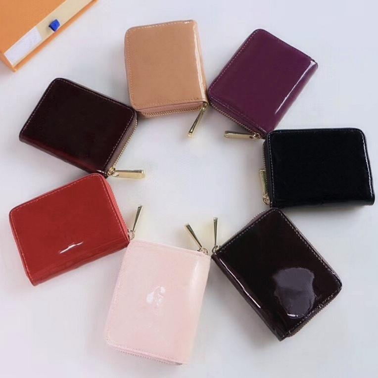 Wholesale Patent leather short wallet lady high quality shinny leather card holder coin purse women Fashion wallet classic zipper pocket