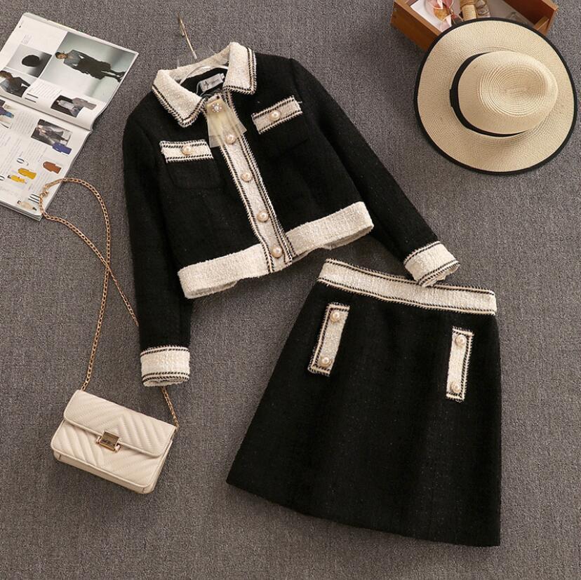 L'autunno e l'inverno del retro di modo grossolano tweed cappotto giacca corta e Minigonna signora Elegant Due set di pezzi di lana Gonna