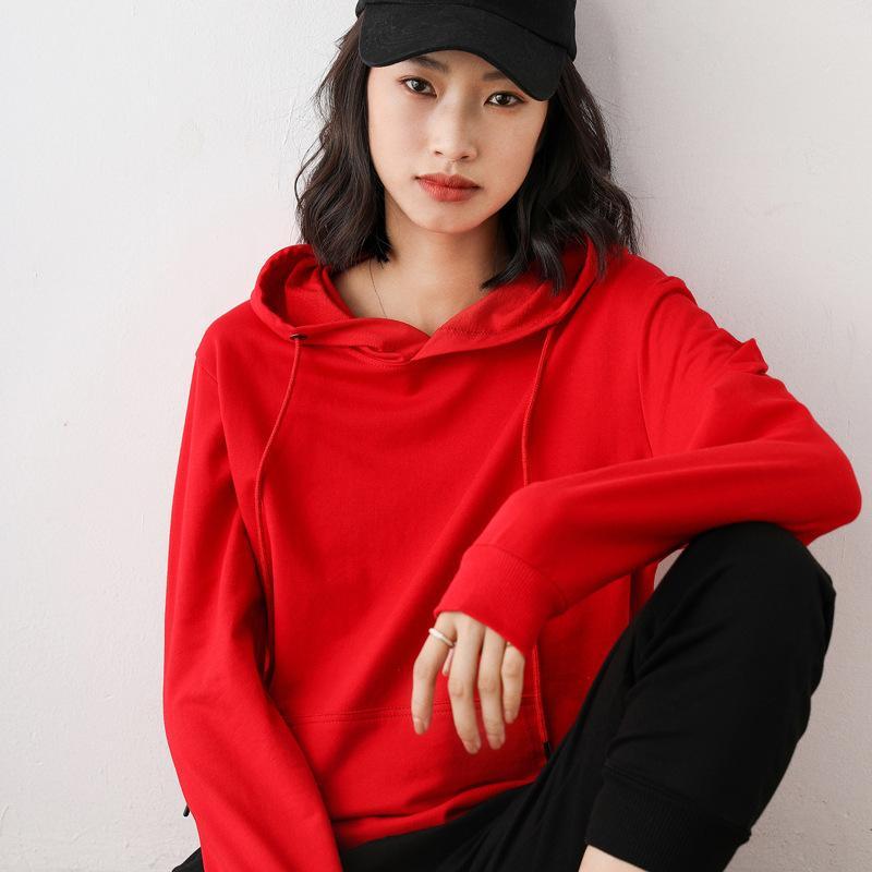 Sudadera Mujeres Primavera y otoño Fino Nuevo Sudadera Suéter Flojo Top Sports Casual Chaqueta Negro 201030