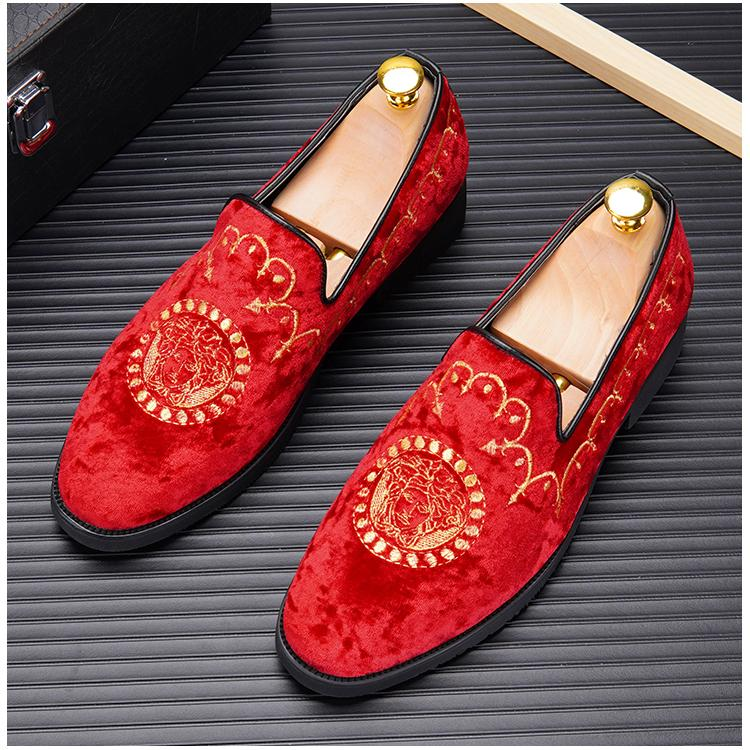 European brand Designer velvet Embroidery Men dress shoes Fashion formal shoes web celebrity Homecoming Prom Shoes Flats loafers