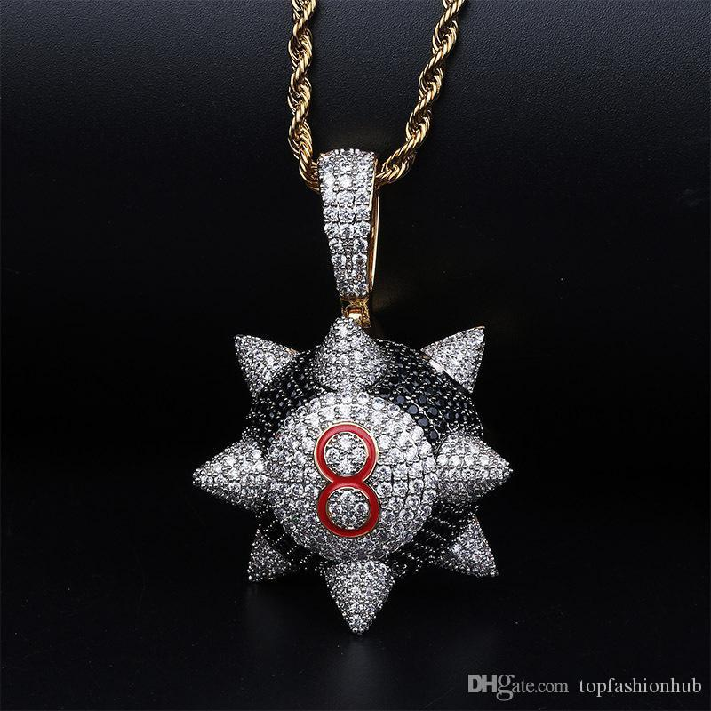Black Eight Rivet Round Hammer Pendants Necklaces Men Hip Hop Bling Ice Out Rapper Jewelry Hot