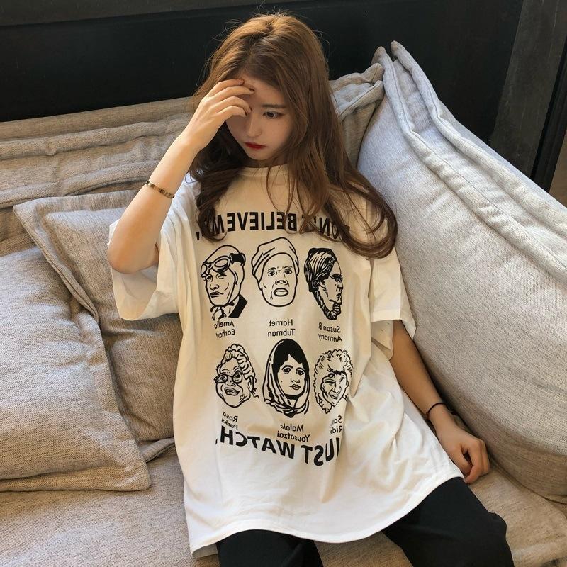 MveIf Clothes costume new Korean loose ancient style girlsInternet women's White sleeve short t-shirt ancient costume 2020 t-shirt celebrity